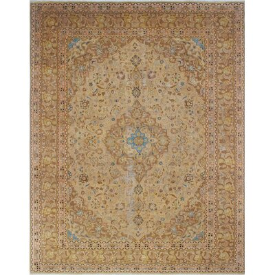 Distressed Overdyed Arsh Hand-Knotted Beige Area Rug