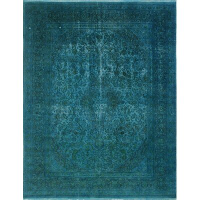 Distressed Overdyed Razzaq Hand-Knotted Blue Area Rug