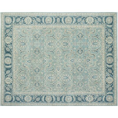 Chobi Fine Iltipat Hand-Knotted Light Green Area Rug