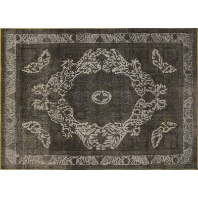 One-of-a-Kind Distressed Zohreh Hand-Knotted Charcoal Area Rug