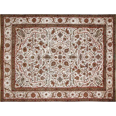 One-of-a-Kind Distressed Wayne Hand-Knotted Ivory Area Rug
