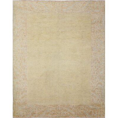 Leann Faded Hand-Knotted Rectangle Beige Area Rug