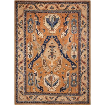 Leann Faded Hand-Knotted Rust Area Rug