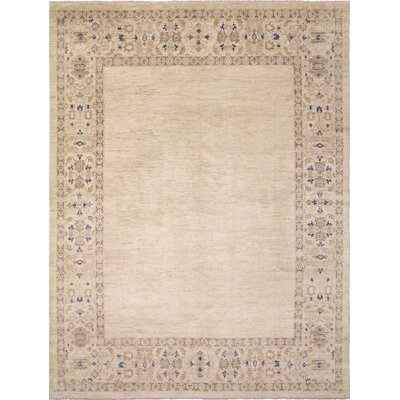 Leann Faded Hand-Knotted Beige Wool Area Rug