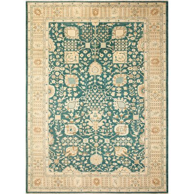 Leann Faded Hand-Knotted Rectangle Light Green Area Rug