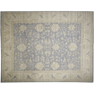 Leann Faded Hand-Knotted Gray Wool Area Rug