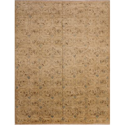 Leann Faded Hand-Knotted Light Brown Area Rug