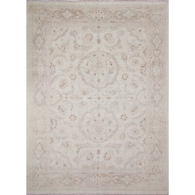 Leann Faded Hand-Knotted Ivory Wool Area Rug