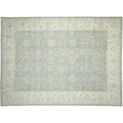 Leann Faded Hand-Knotted Light Green Area Rug