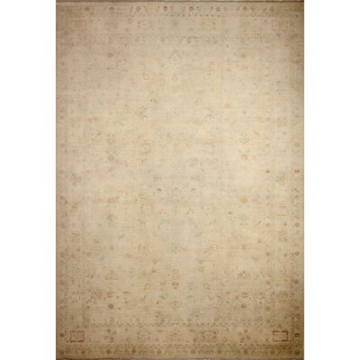 One-of-a-Kind Peshawar Faded Ales Hand-Knotted Ivory Area Rug