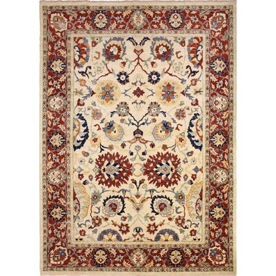 One-of-a-Kind Chobi Fine Calvert Hand-Knotted Ivory Area Rug