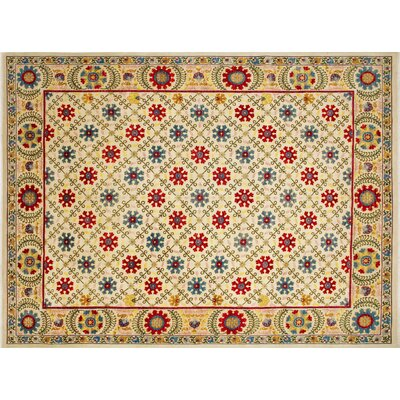 One-of-a-Kind Chobi Fine Faraz Hand-Knotted Ivory Area Rug