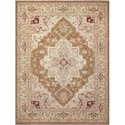 Leann Faded Hand-Knotted Rectangle Light Brown Area Rug