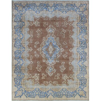 Fine Distressed Arman Hand-Knotted Brown Area Rug