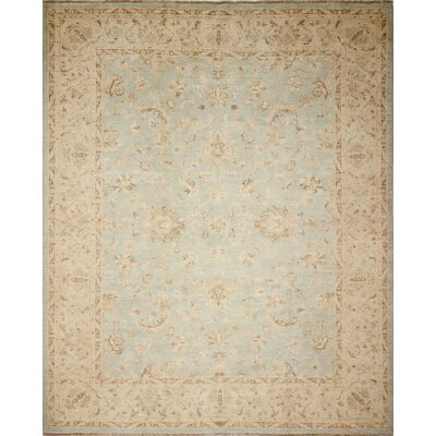 Leann Faded Hand-Knotted Green/Blue Area Rug