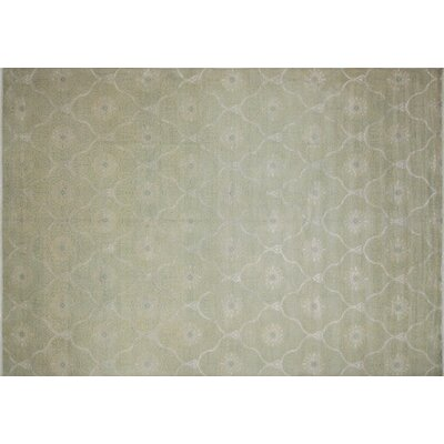Bellview Hand-Knotted Rectangle Wool Light Green Area Rug