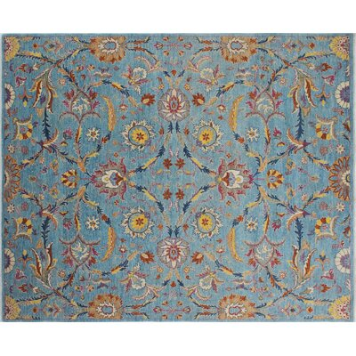 Chobi Fine Aydin Hand-Knotted Light Blue Area Rug