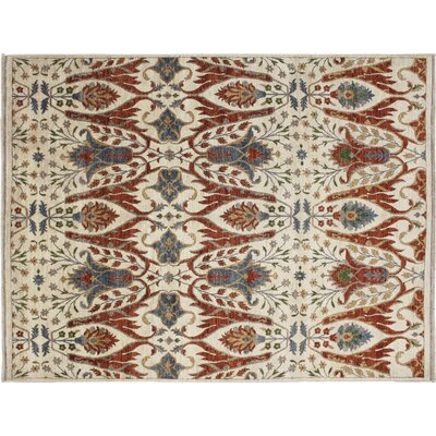 Chobi Fine Hakim Hand-Knotted Ivory Area Rug Rug Size: Rectangle 12 x 154