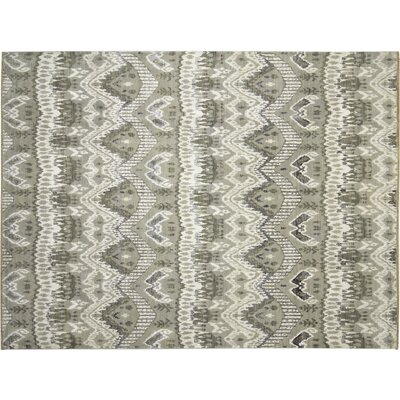 Fine Ikat Noureddine Hand-Knotted Green Area Rug