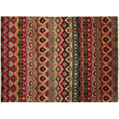 One-of-a-Kind Fine Ikat Bahman Hand-Knotted Red Area Rug