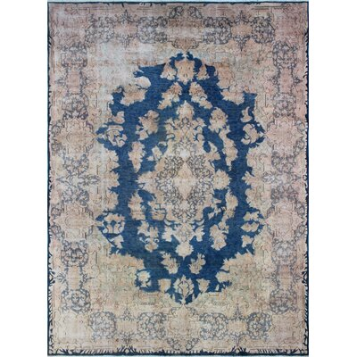 Fine Distressed Akhdan Hand-Knotted Blue Area Rug