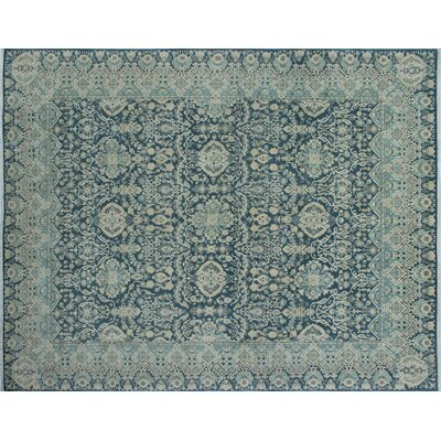 One-of-a-Kind Chobi Fine Ashmaan Hand-Knotted Green/Gray Area Rug