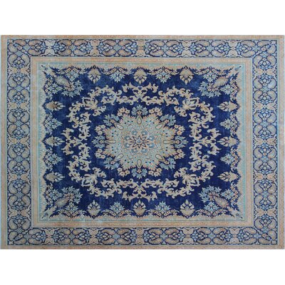 One-of-a-Kind Fine Distressed Guljaina Hand-Knotted Blue Area Rug