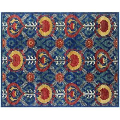 One-of-a-Kind Chobi Fine Rafi Hand-Knotted Blue Area Rug