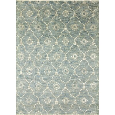 Bellview Floral Hand-Knotted Wool Light Blue Area Rug