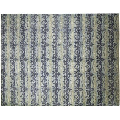 Bellview Loom Hand-Knotted Rectangle Light Blue Area Rug