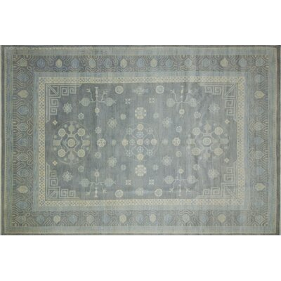 One-of-a-Kind Bellview Hand-Knotted Rectangle Premium Wool Gray Area Rug