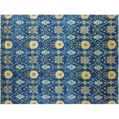 Chobi Fine Balziya Hand-Knotted Blue Area Rug