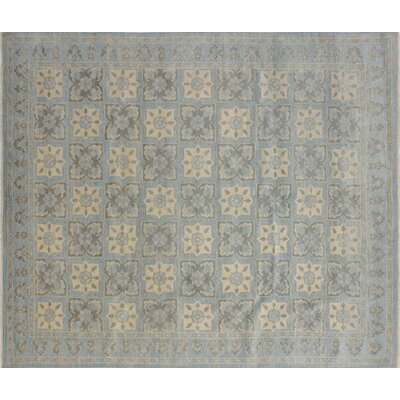 Bellview Floral Hand-Knotted Light Blue Area Rug