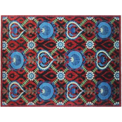 One-of-a-Kind Chobi Fine Sabur Hand-Knotted Red Area Rug