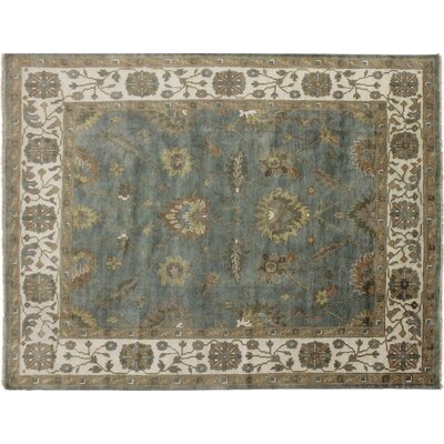 Oushak Fine Mahtab Hand-Knotted Green Area Rug
