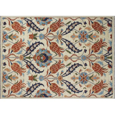 One-of-a-Kind Chobi Fine Wahid Hand-Knotted Ivory Area Rug