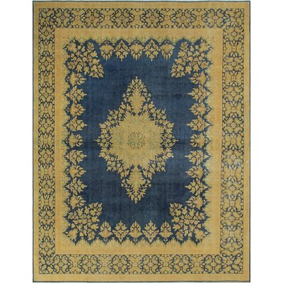 One-of-a-Kind Fine Distressed Haq Hand-Knotted Blue Area Rug