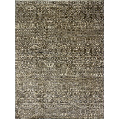 Bellview Geometric Hand-Knotted Blue Area Rug