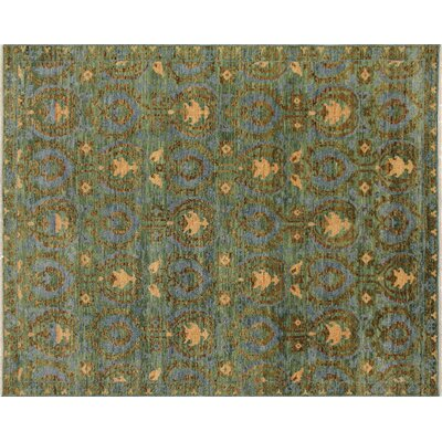 Bellview Hand-Knotted Wool Green Area Rug