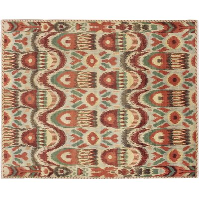 Fine Ikat Hand-Knotted Light Green Area Rug Rug Size: Rectangle 82 x 102