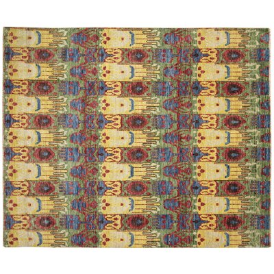 One-of-a-Kind Bellview Ikat Hand-Knotted Green Area Rug
