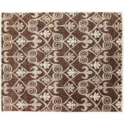 Oushak Fine Douae Hand-Knotted Brown Area Rug