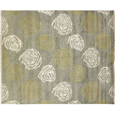 Oushak Fine Kawtar Hand-Knotted Light Green Area Rug