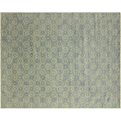 Oushak Fine Hand-Knotted Light Blue Area Rug Rug Size: 83 x 102