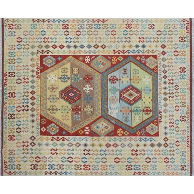 One-of-a-Kind Kilim Abyad Hand-Woven Ivory Area Rug