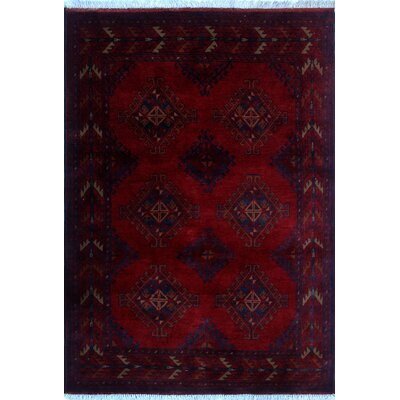 Alban Hand-Knotted Red Fringe Area Rug