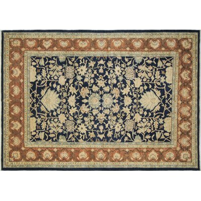 One-of-a-Kind Leann Hand-Knotted Oriental Rectangle Blue Indoor Area Rug