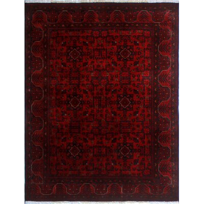 Alban Hand-Knotted Red Oriental Premium Wool Area Rug