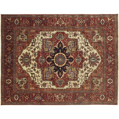 One-of-a-Kind Heriz Super Fine Serapi Khorshed Hand-Knotted Rust Area Rug