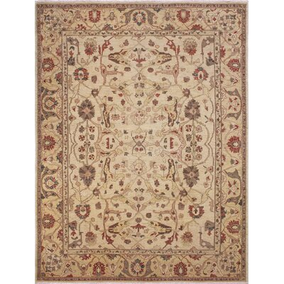 One-of-a-Kind Leann Hand-Knotted Oriental Ivory Premium Wool Area Rug